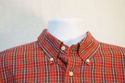 3aab1609 Tommy Hilfiger HEAVY Cotton Button-Front Shirt, Classic Red Plaid, Men's XL  8347