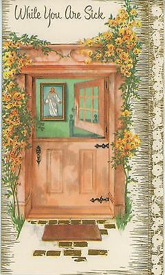 Vintage Wood Door Climbing Garden Yellow Roses Jesus Christ Scripture Card Print