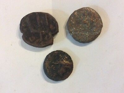 Lot of 3 Ancient Greek Bronze Coins: One Sicily 3rd century b.c. One 2nd century