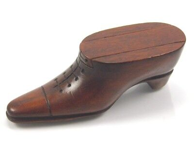 Shoe boot snuff box vintage hand carved mahogany Treen