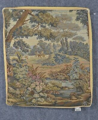 pillow tapestry cover case  hunting horse country scene 17 x 14 in.
