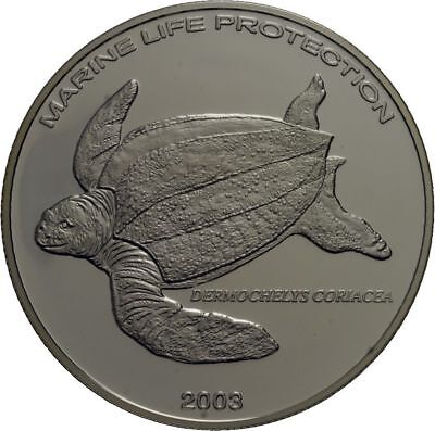 2003 Ghana Large Silver Proof  500 Sika-Turtle