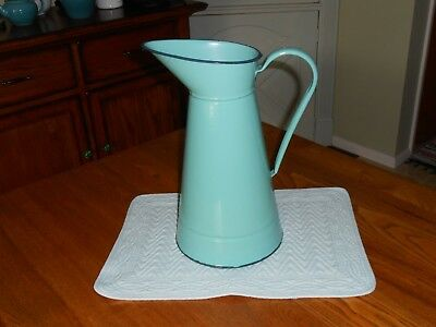 Vintage French Enamel Enamelware Turquiose Duck Blue Water Pitcher