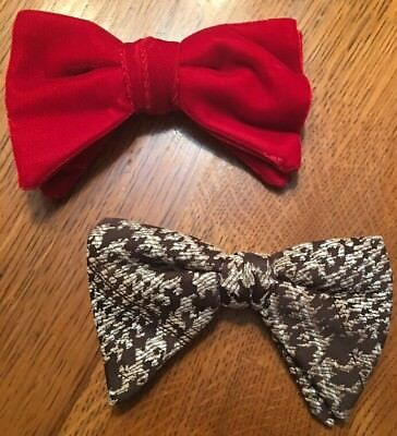 """Lot of 2 Vintage Royal Rust-Resistant Plaid Butterfly Clip-On Bow Tie 6""""WX3.5""""L"""