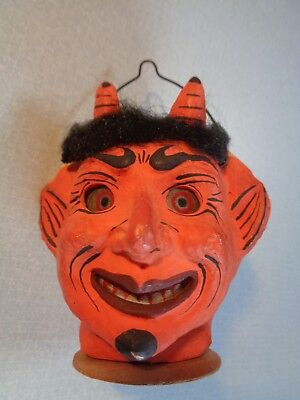 C 1920s Two Faced--Devil-Witch---Composition Halloween Lantern-Germany