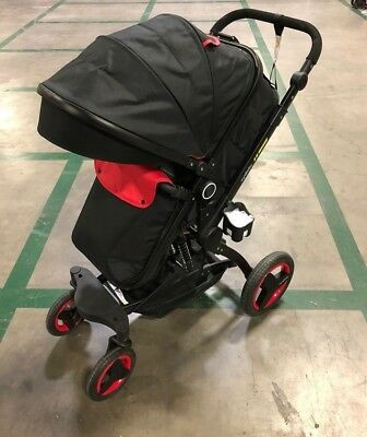 CyneBaby X6 Luxury Pram & Stroller, Black/Red (HUGE DISCOUNT) - FREE SHIPPING!