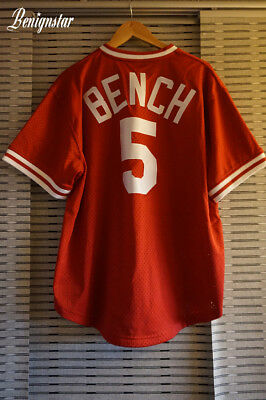 Johnny Bench Baseball Batting 1983 Mitchell And Ness Jersey Cincinnati Reds XL