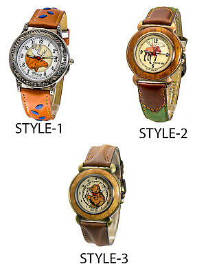 Dejuno:mens' Genuine Leather Band Round Case Moose/bear Face Analog Quartz Watch