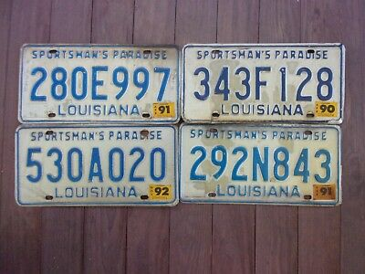 Set of 4 Louisiana Sportsman's Paradise License Plates DIY