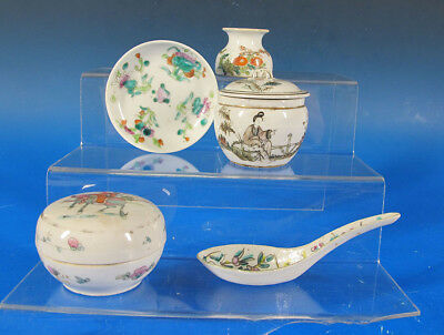 Group of (7) China Trade Porcelain Qianjiang Qing Republican Scholars Items yqz