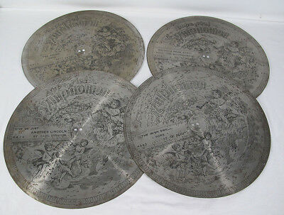 "Antique Collection of (4) 15"" Imperial Symphonion Metal Music Box Discs #1 yqz"