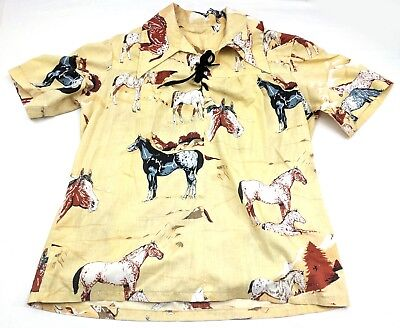 Vtg Cowgirl Horse Shirt Womens M/L Homemade Rodeo Western