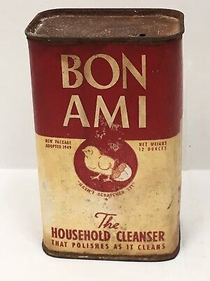 Bon Ami Household Cleaner Vintage Tin Can Half Full