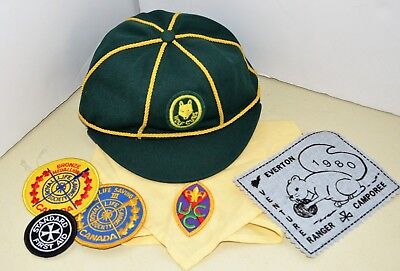 Vintage BOY SCOUTS WOLF CUBS Green Cap Hat Bandana + Patches Canada