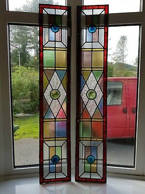 Antique pair of colourful lead lights/stained glass windows. Vintage. Reclaimed.