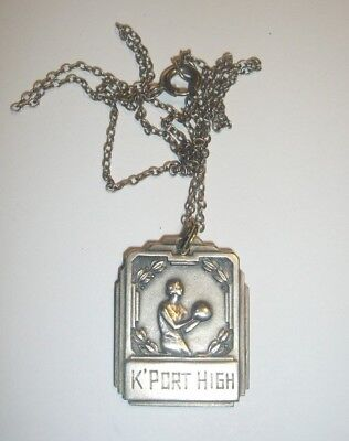 Antique Kennebunkport Maine Me Sterling Silver Basketball High School Pendant
