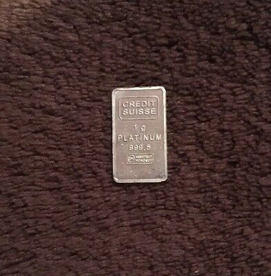 1 Gram Platinum Credit Suisse Bar- Statue Of Liberty