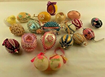 Lot of 20 Vintage Handmade Easter Egg Ornament Variety Beaded Sugared Floral Etc