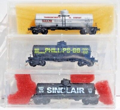Kadee/Micro Trains N Scale 3 x 39' Tankers, Transcontinental, Phillips, Sinclair