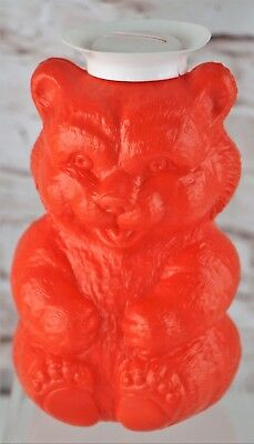 Vintage 1970s Tinted Bubble Bath Red Plastic Teddy Bear Bank