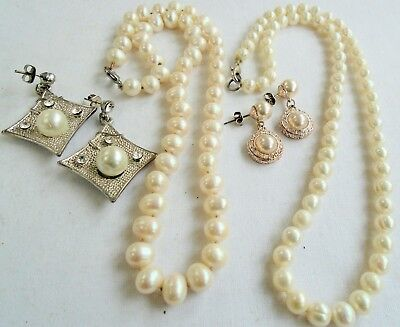 Two vintage hand knotted cultured pearl necklaces + silver metal earrings
