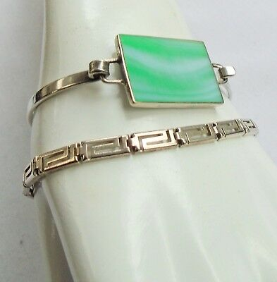 Fine quality vintage sterling silver & mother-of-pearl cuff bracelet + 1