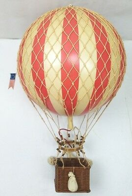 Vintage Red & Cream Striped Large Ball Hot Air Balloon Hanging Aviation Decor