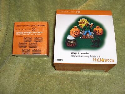 Department 56 lot of 2 Spooky Wrought Iron fence, 53246 Accessories set 5 NIB
