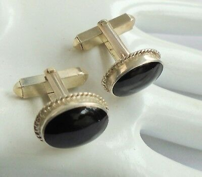 Pair fine quality vintage sterling silver & onyx cuff links