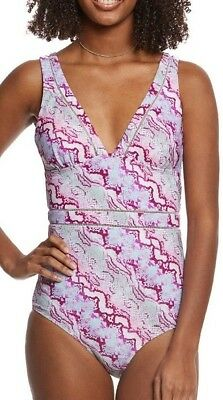f5f7ab6779a00 Betsy Johnson Size L Smooth Operator 1 Piece Maillot Swimsuit Pink Multi  NWT  98