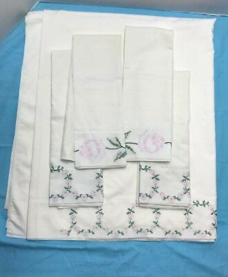Vintage Embroidered Queen Flat Sheet And Four Pillowcases...LQQK!