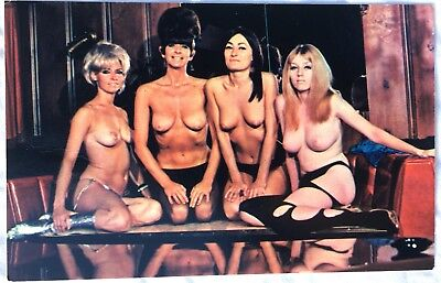 VINTAGE POSTCARD 4 BEAUTIFUL 1960's FEMALE NUDE STRIP CLUB HOLLYWOOD