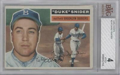 1956 Topps #150.2 Duke Snider (White Back) BVG 4 VG-EX Brooklyn Dodgers Card