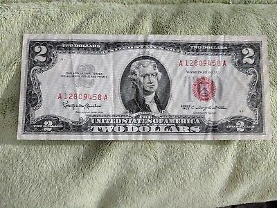 Lot of 1-Red Seal $2.00 US 1963 Notes - Currency Collection *397