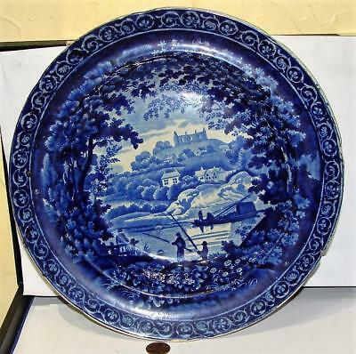 Antique Staffordshire Dark Blue Soup Bowl, Fishing Pattern, Adams, c 1820