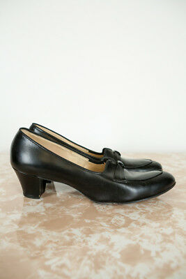 Vintage 1940s 1950s Foot Saver Black Heels Shoes Pumps 10aaaa Retro Pinup Narrow