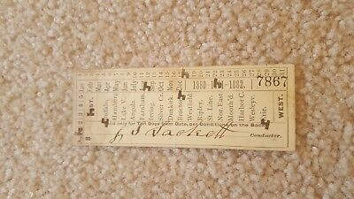 Antique 1881 Lake Shore Michigan & Southern Railway Ticket Punched