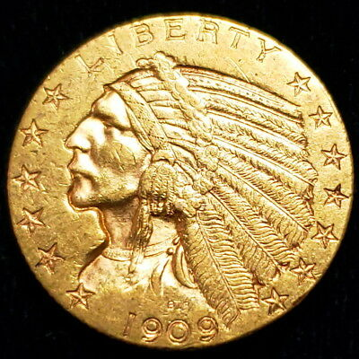 1909 D $5 Indian Head Half Eagle Gold Five Dollars Nice Collector Coin /IHHE0957