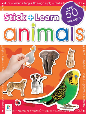 Stick + Learn Animals Over 50 Stickers Book Kids School Booklet Series 2