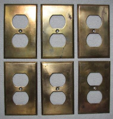 LOT OF 6 VINTAGE / SALVAGED BRASS OUTLET COVERS ~ PLATES w BEVELED EDGES