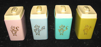 "Retro Vintage Nylex ""Harlequin"" Spice Canister Set X 4"