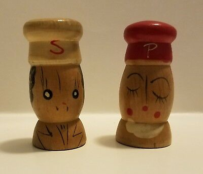 A129 - Vintage Salt and Pepper Shakers - Miniature Wooden Chefs