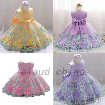 Princess Flower Girl Wedding Cocktail Party Dress Lace Formal Summer Beach AU