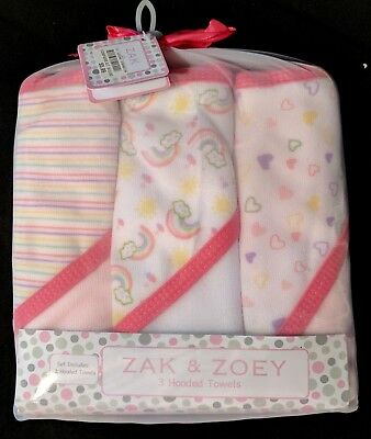 Zak and Joey Hooded infant towels girls pink NWT