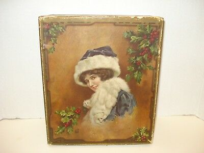 Antique Litho Print Victorian Christmas Card Box Decor Girl in Furs