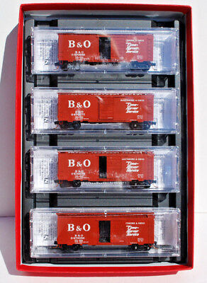MTL N Scale 4 Car Runner Pack, 40' Box Cars with Roofwalk. B & O. New.