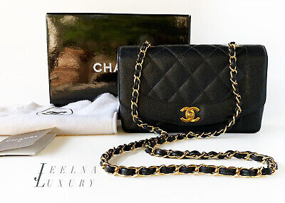 60227ddbf01a AUTH CHANEL CAVIAR Diana Black Classic Flap Bag 24k gold hardware ...