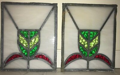 """Antique Leaded Stained Glass Panel  12 """" Art Deco"""