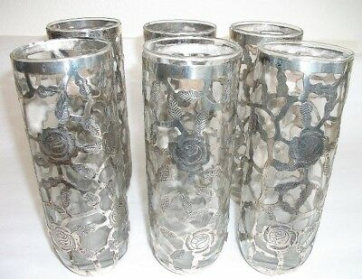 6 Mexican Sterling Silver Sleeved Overlay 7 inch Water Glasses