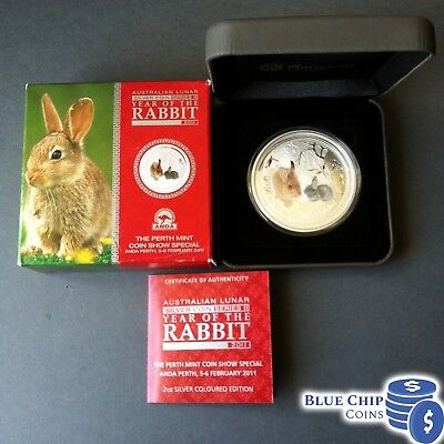 2011 $2 YEAR OF THE RABBIT 2oz COLOURED SILVER COIN ANDA SHOW NUMBERED 199